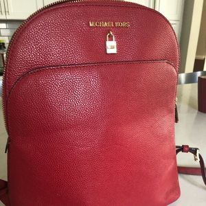 Michael Kors small red backpack bag